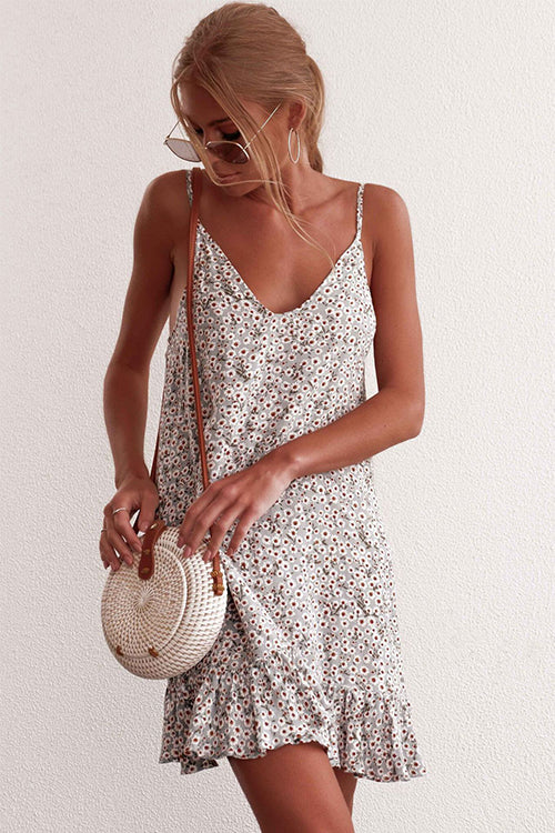 Floral Summer Ruffle Mini Dress