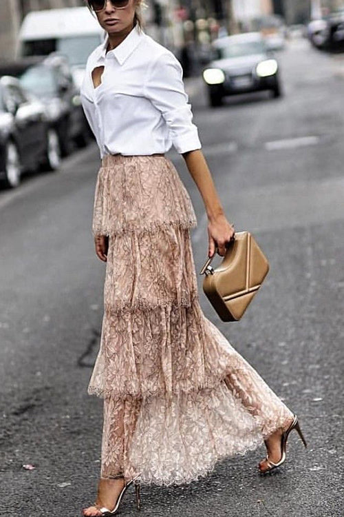 Start With Lace Tiered Skirt