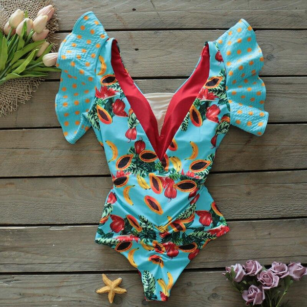 Sexy V-Neck Lace One Piece Ruffle Swimwear Print Bikini
