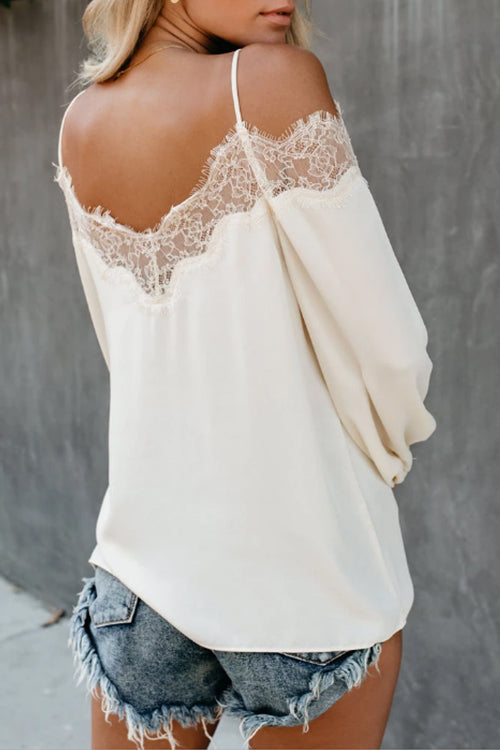 Lace Cold Shoulder Blouse