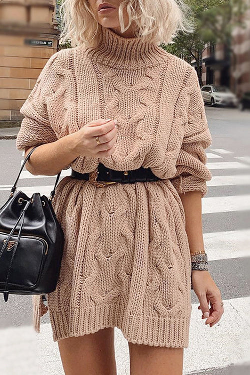 Cozy on Up High Neck Sweater Dress