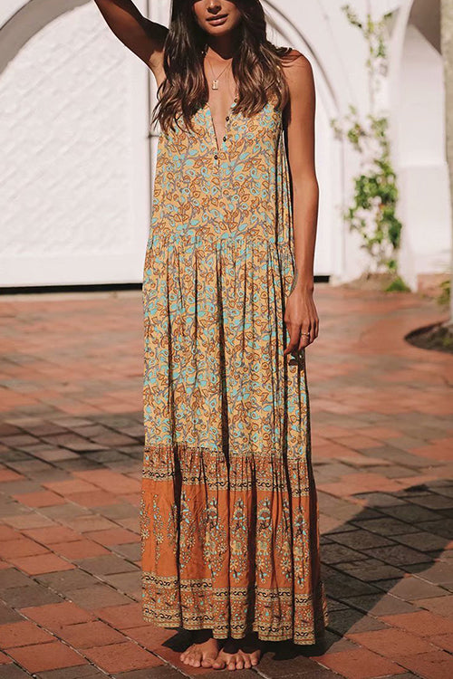 Boho Vibes V-neck Maxi Dress