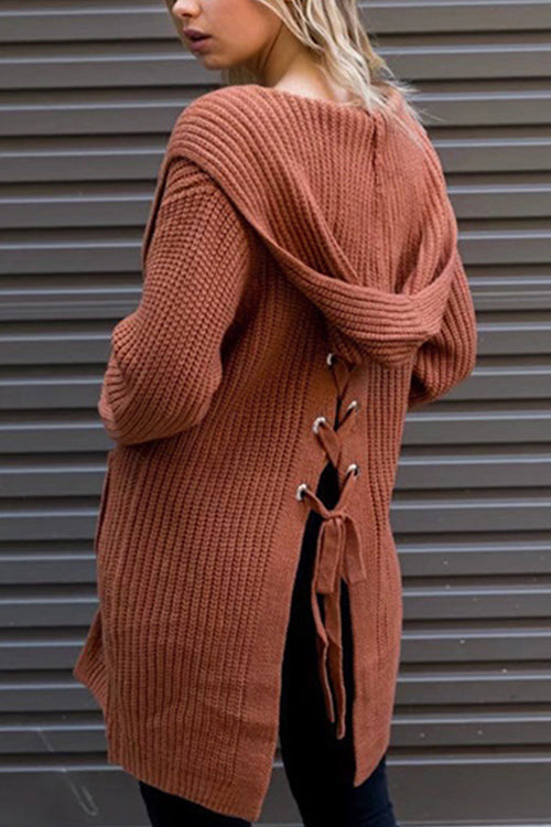 Staying Cozy Tie Back Knit Cardigan