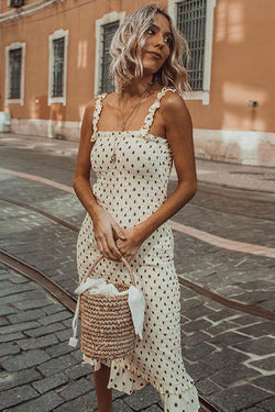 Sweet Style Polka Dot Midi Dress