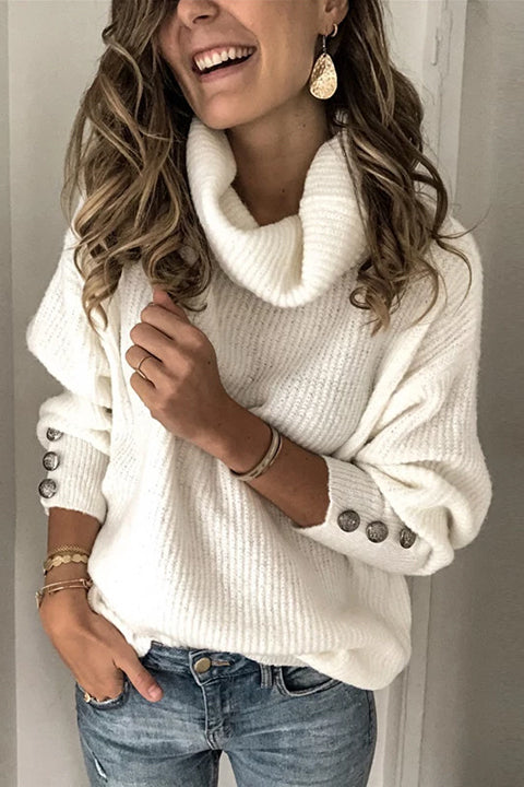 Casual Solid Turtle Neck Sweater