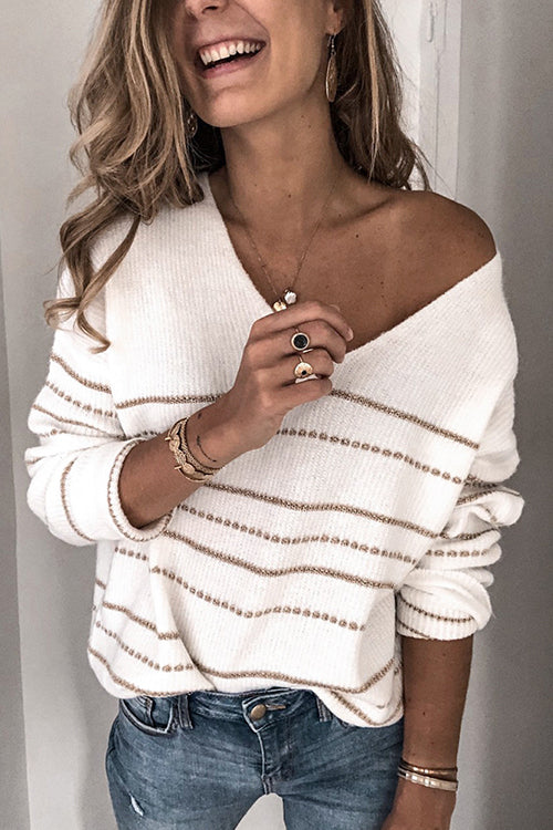 Good Natured White V-neck Sweater