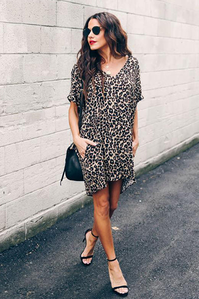 Lazy Time Leopard Pocketed Mini Dress