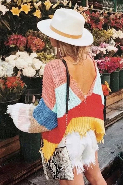 Multi Color V-neck Sweater