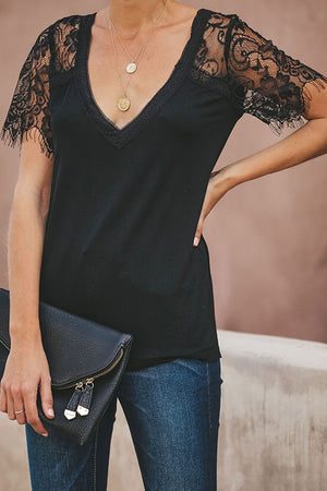 Lace Up V-neck Top