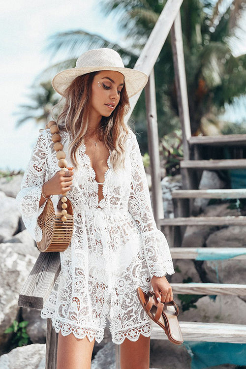 Sea Side Lace See-through Mini Dress