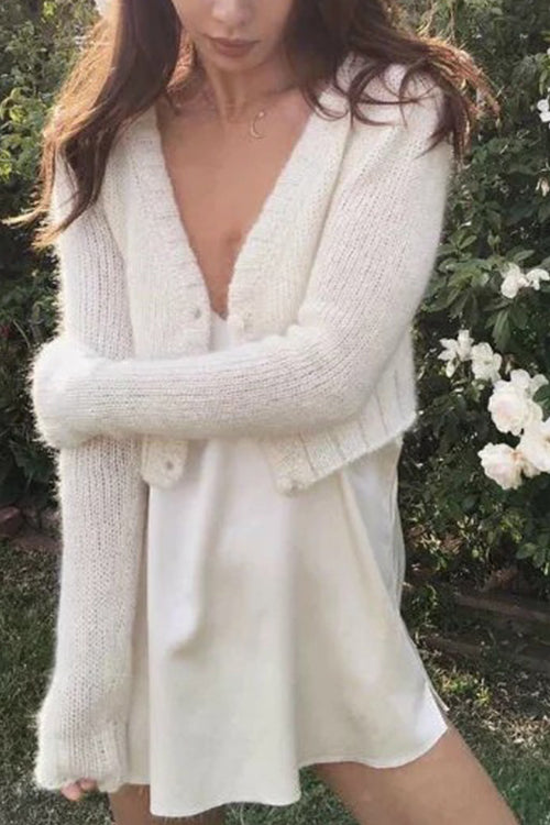White Crop Sweater Cardigan