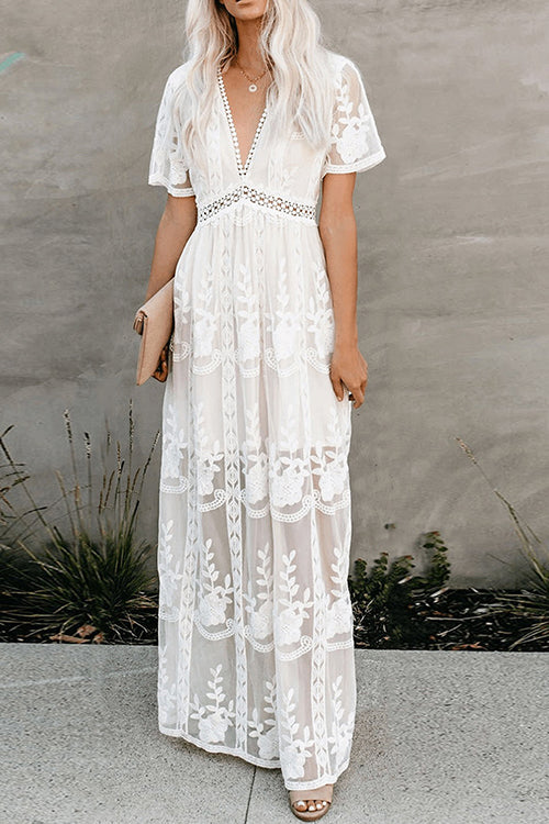 Lacy Lady Floral V-neck Maxi Dress