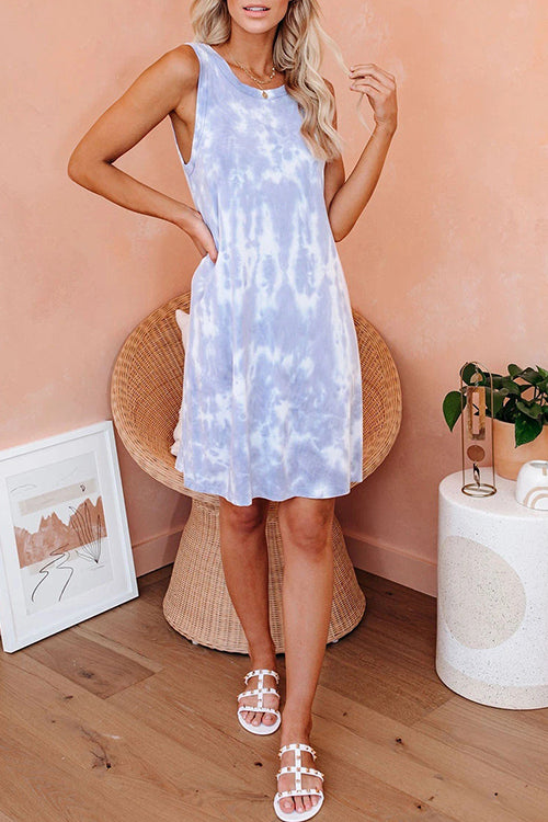 Takin' it Easy Tie Dye Sleeveless Mini Dress