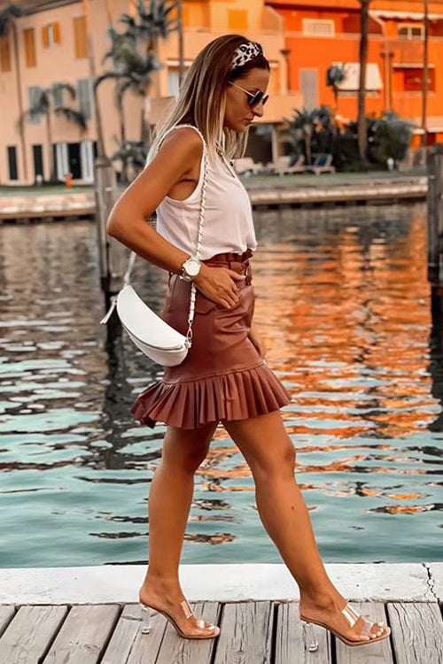 You're the One Belt Pleated Mini Skirt