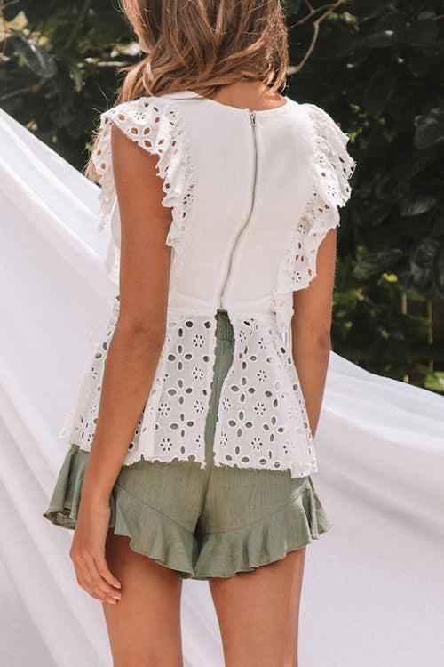 Adore White Ruffle Top