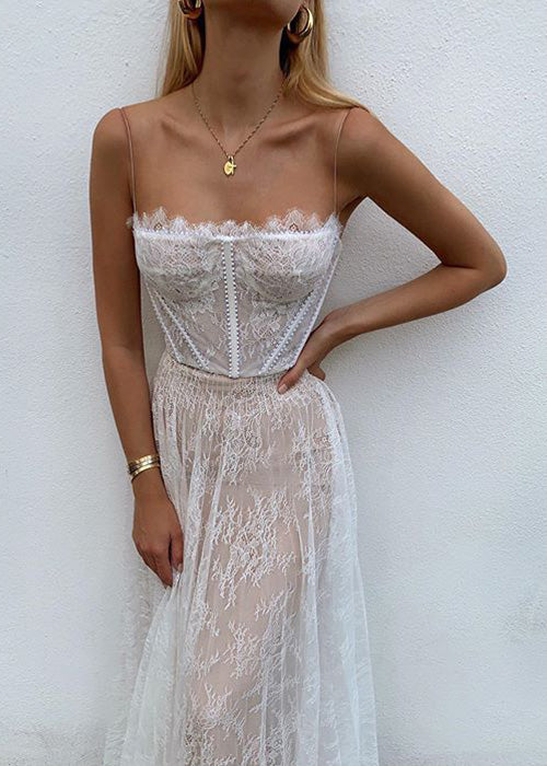 Lace Up Embroidery Maxi Dress