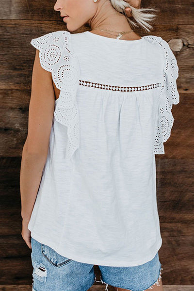 Pure White Ruffle Hollow-out Top