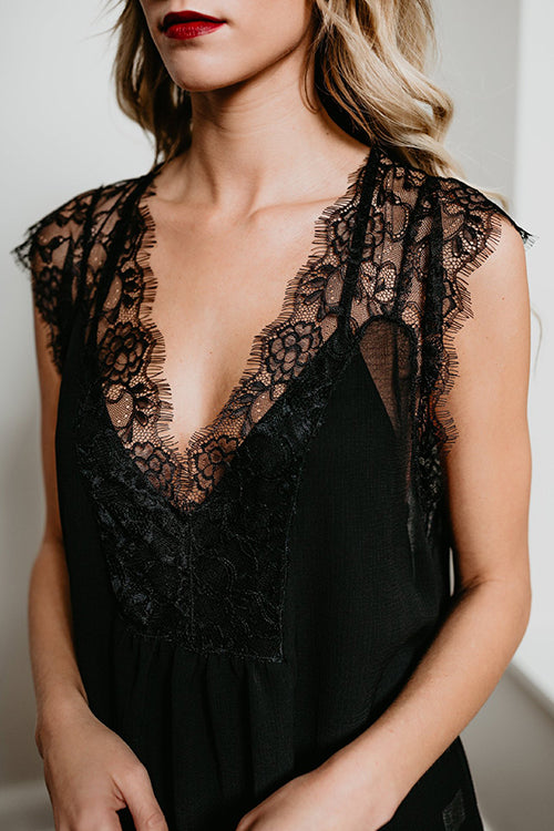 Adorable in Lace V-neck Top - UnikWe Boutique