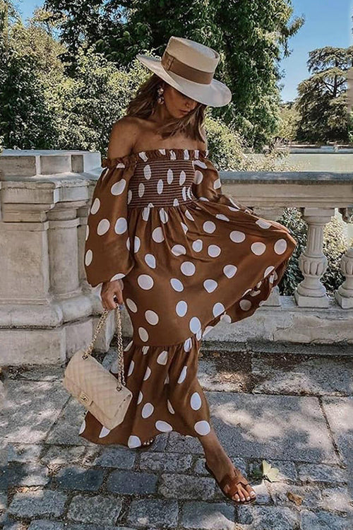 Love the Dot Off the Shoulder Maxi Dress - UnikWe Boutique