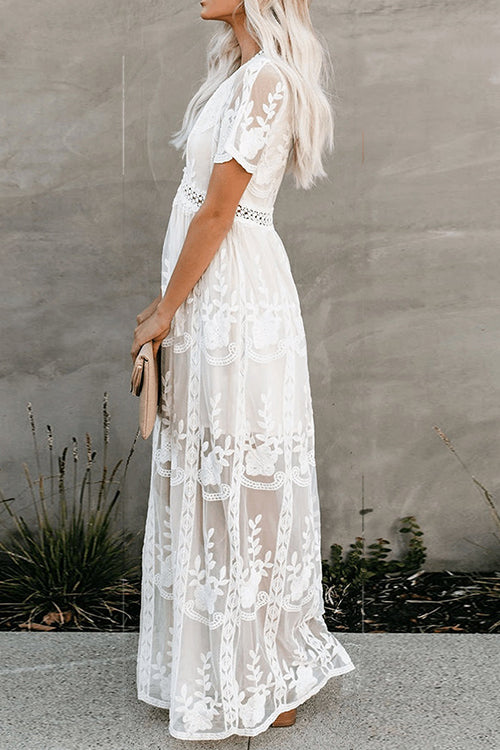 Lacy Lady Floral V-neck Maxi Dress - UnikWe Boutique