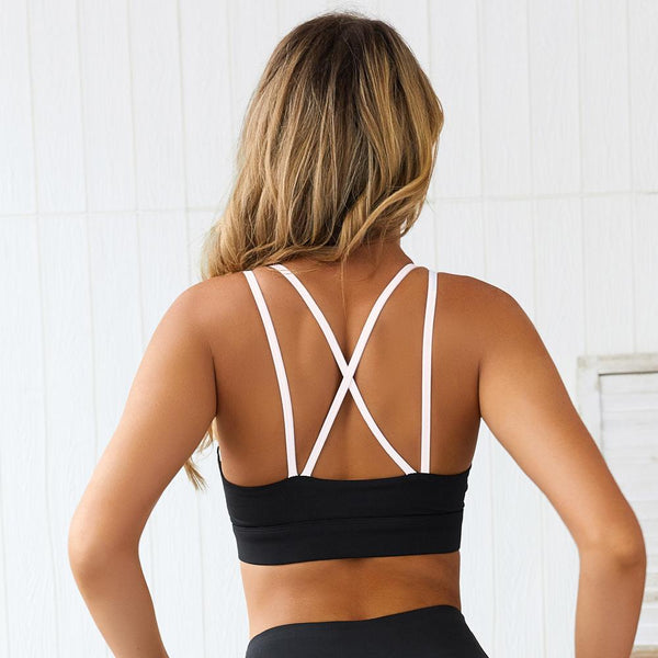 Black And White Stripe Tank Seamless Sports Bra
