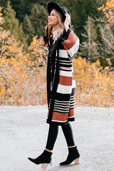Stripe Long Knit Cardigan