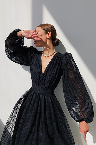 Elegant Instance Puff Sleeve Maxi Dress