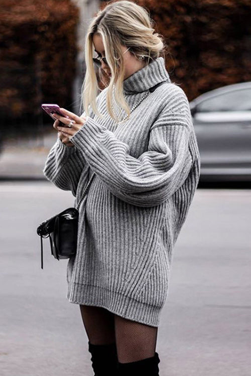 Oversize Grey Turtle Neck Sweater