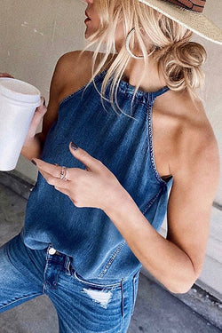 Best Wishe Denim Sleeveless Top