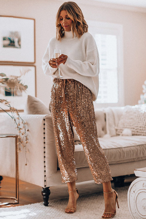 Spread Your Shine Drawstring Sequin Pants