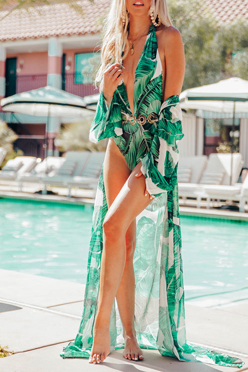 Breezy Green Leaves Kimono - UnikWe Boutique