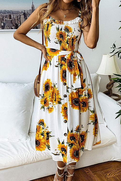 My Sunshine Sunflower Midi Dress