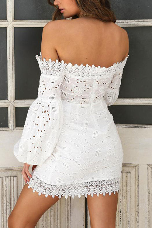 Picture Perfect Off the Shoulder Mini Dress