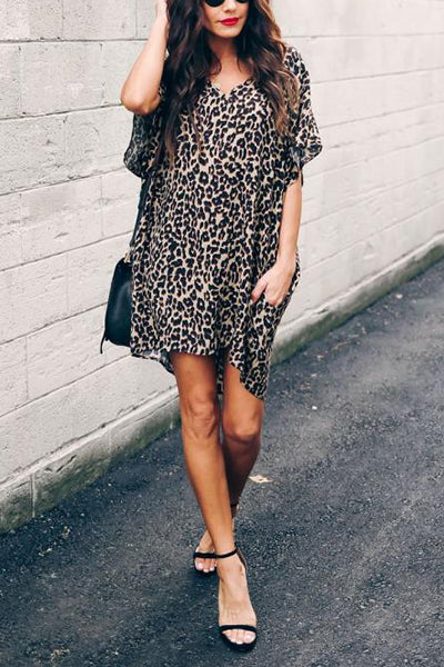 Lazy Time Leopard Pocketed Mini Dress - UnikWe Boutique