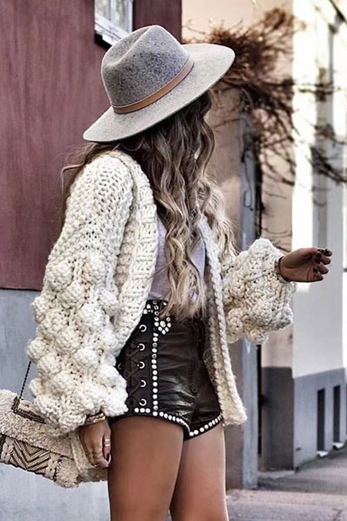 Knit Season Puff Sleeve Cardigan - UnikWe Boutique
