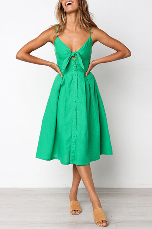 Vacation Delight Bowknot Midi Dress