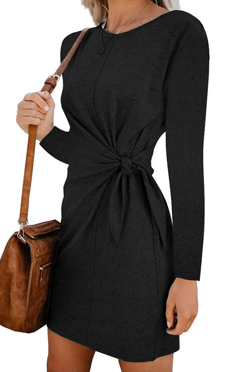 Wie Minded Long Sleeve Knot Minikleid
