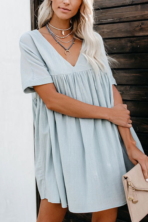 Easygoing V-neck Mini Dress