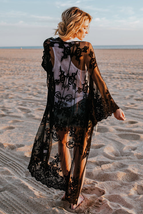 Beach Side Lace Kimono - UnikWe Boutique