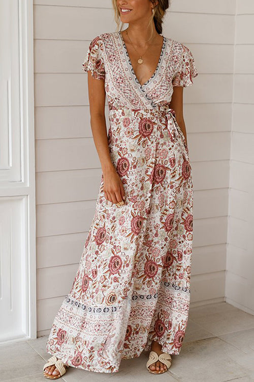 Boho Vibes Tie Waist Maxi Dress