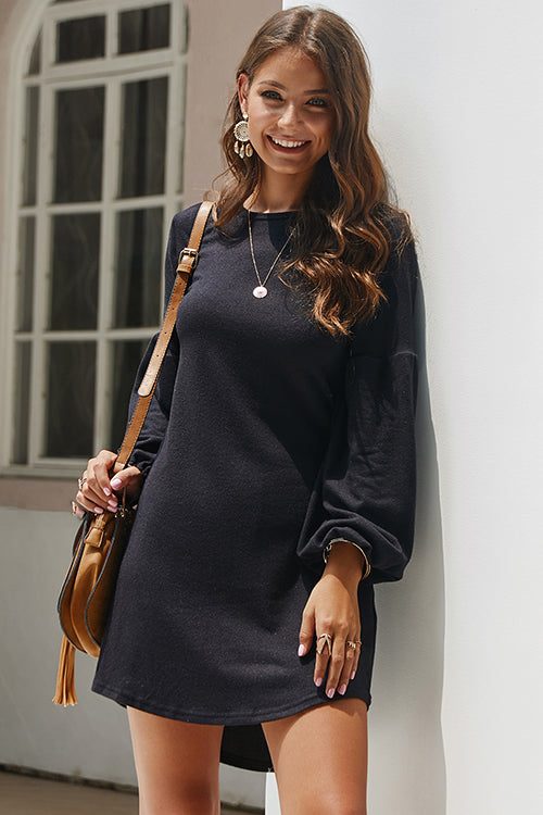 Lovely Days Solid Puff Sleeve Mini Dress