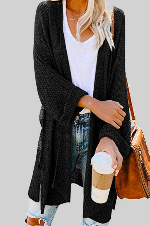 Solid Simple Long Cardigan