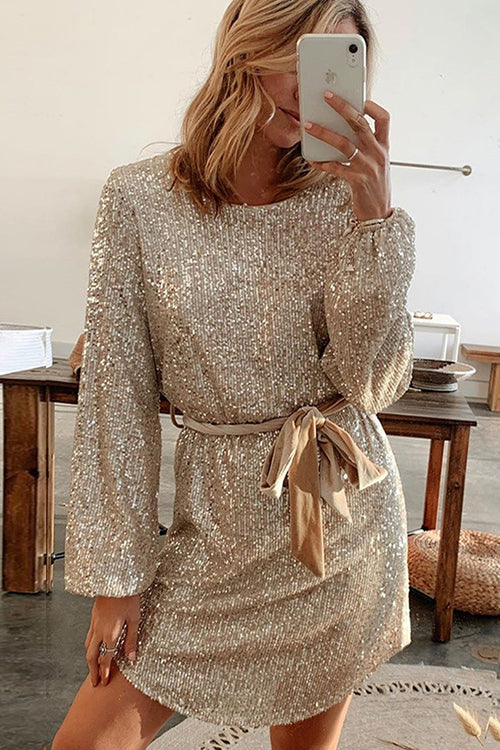 Let's Shinning Puff Sleeve Sequin Dress