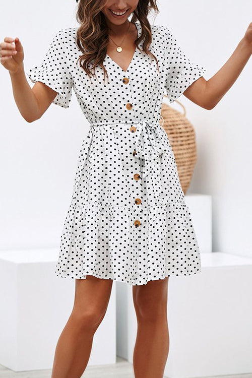 Days of Sunlight Dotted Mini Dress - UnikWe Boutique