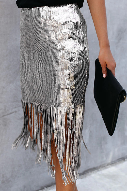 Spread Your Shine Tassels Sequin Midi Skirt