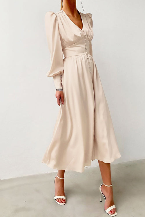 Lust or Love Puff Sleeve Maxi Dress