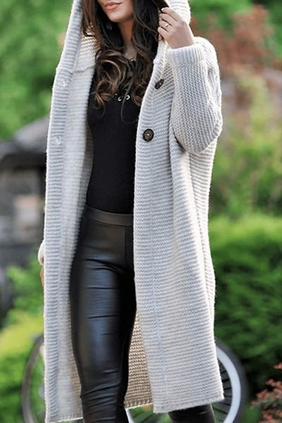 Casual Babe Knit Hooded Cardigan