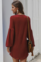 Lovely Days Solid Puff Sleeve Mini Dress - UnikWe Boutique