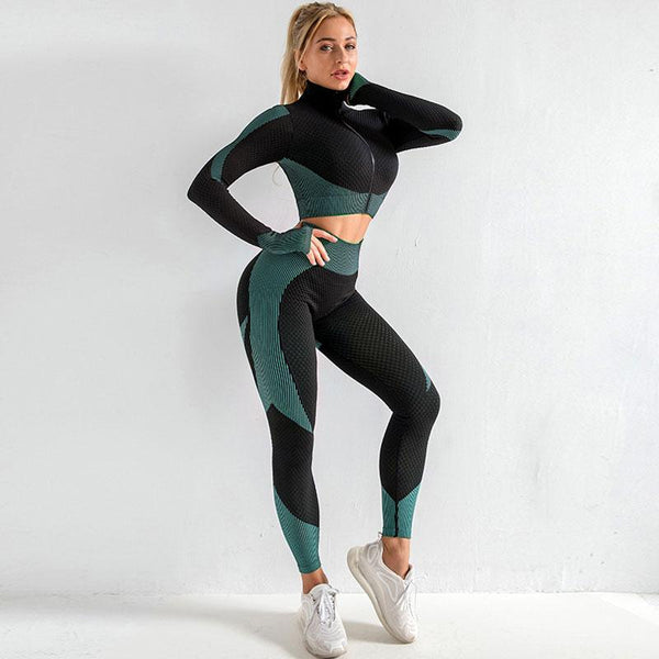8 Colors Solid Zipper Sportswear Set