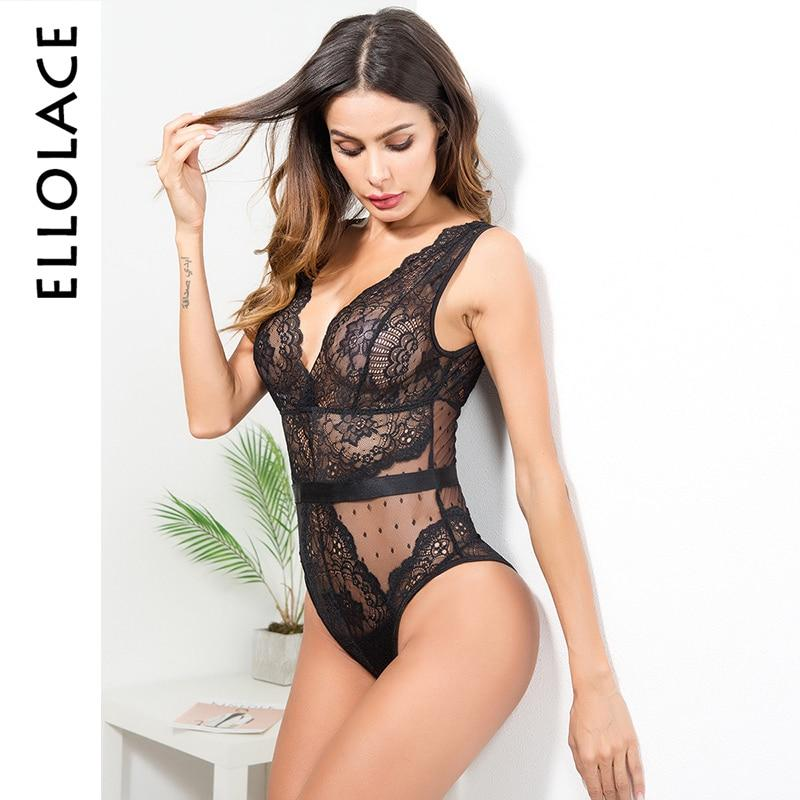 Floral Stickerei tief V Hals Sexy Body